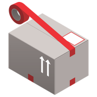 moving box with red tape and labels icon