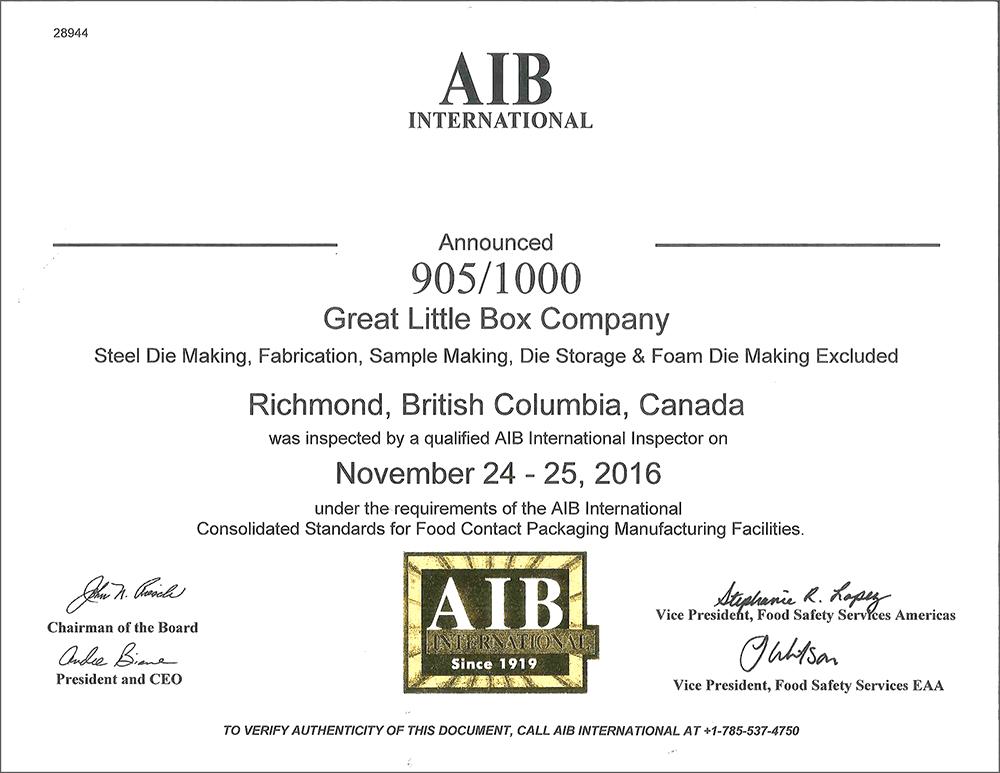 GLBC-AIB-Certification - Great Little Box Company