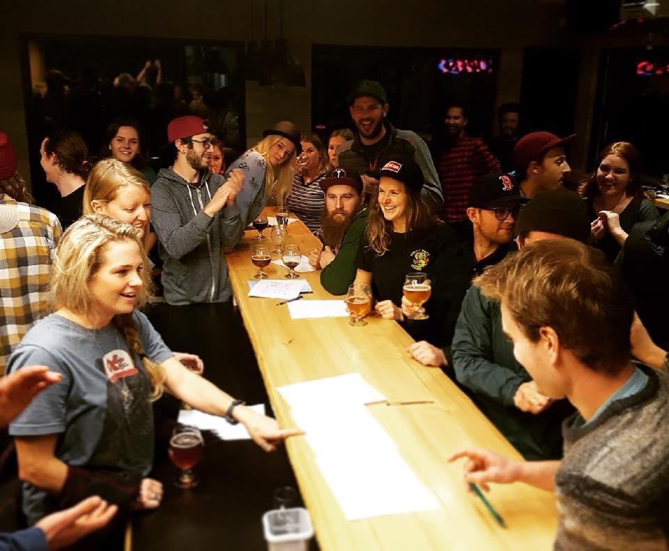 busy A-frame brewery bar