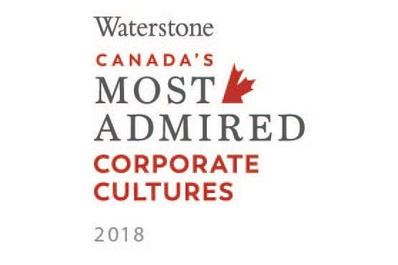 Waterstone's Canada's 10 Most Admired Corporate Cultures (2018, 2012)