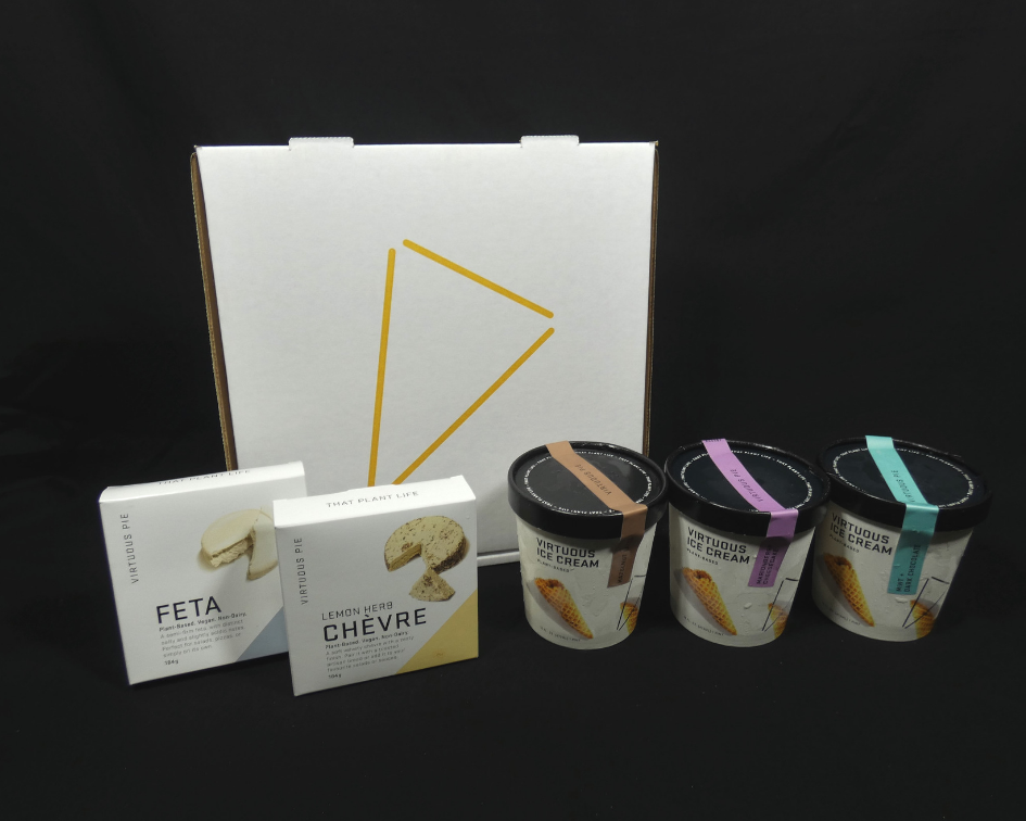 virtuous pie's custom pizza box, ice cream container and cheese box