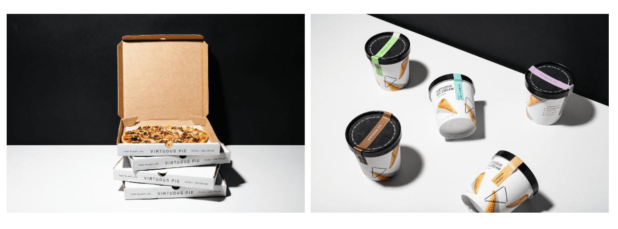 virtuous pie custom pizza box and ice cream container