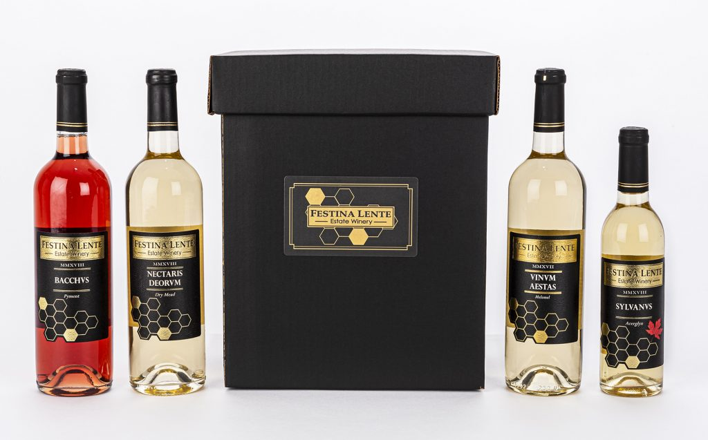 collection of Festina Lente's wines and custom wine box