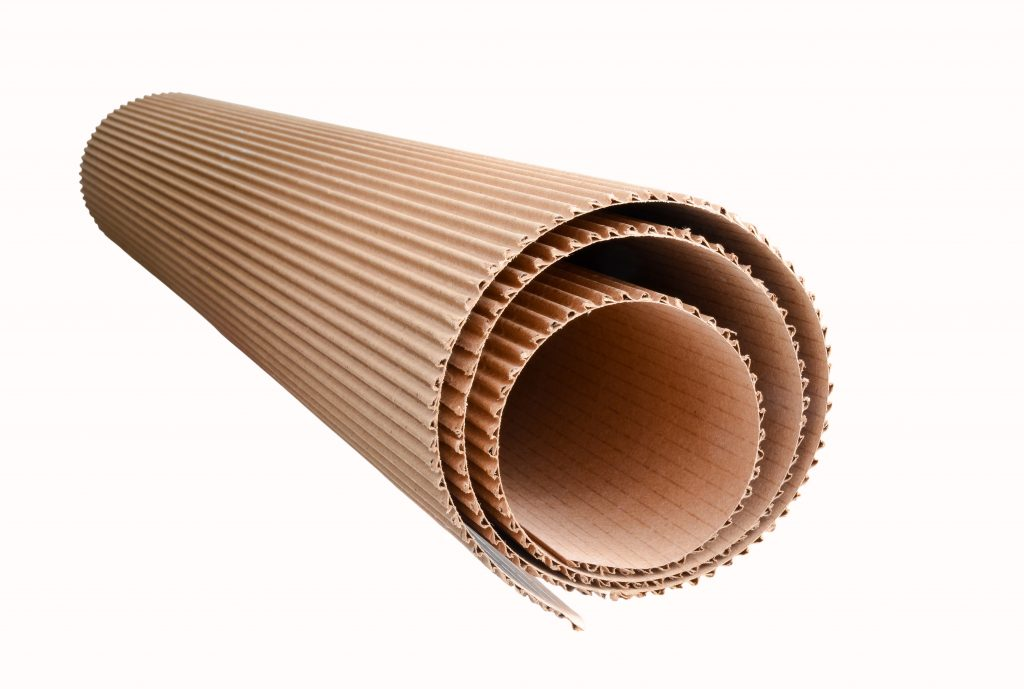 corrugated cardboard rolled up