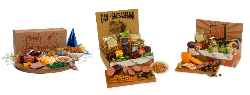 three different gift baskets from Dan the Sausageman