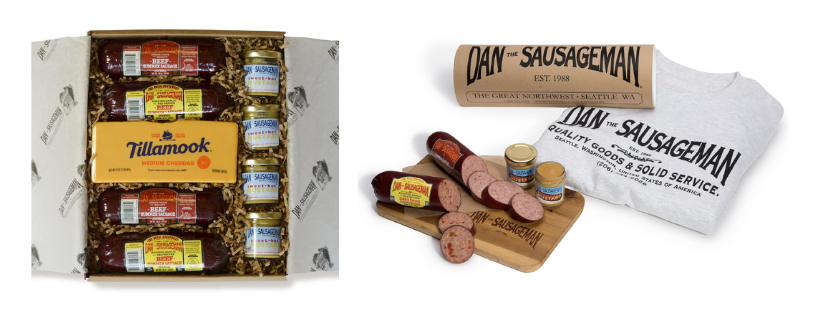 two different packaging options for sausage gift boxes