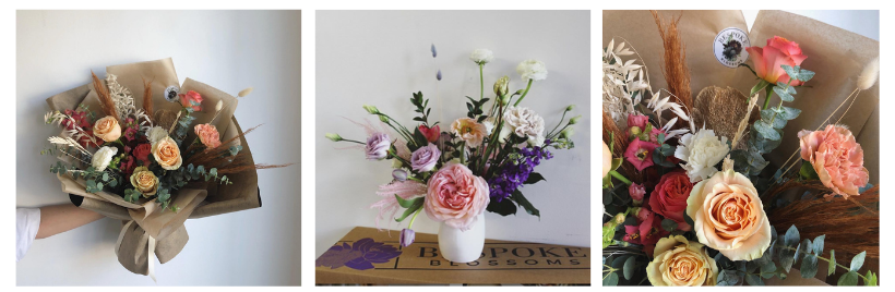 three diferent flower bouquets by Bespoke Blossoms,