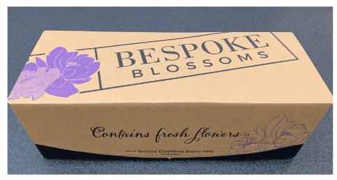 custom e-commerce packaging made for flower company Bespoke Blossoms