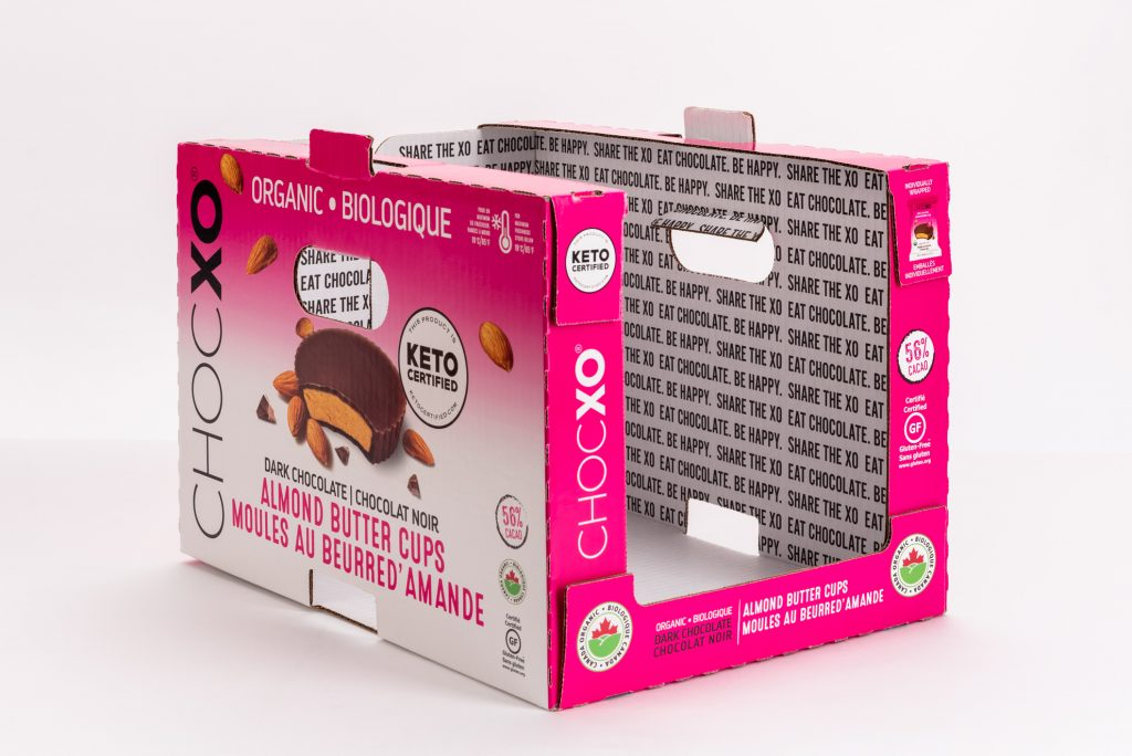 Pink custom corrugated display made for chocolate brand ChocXO