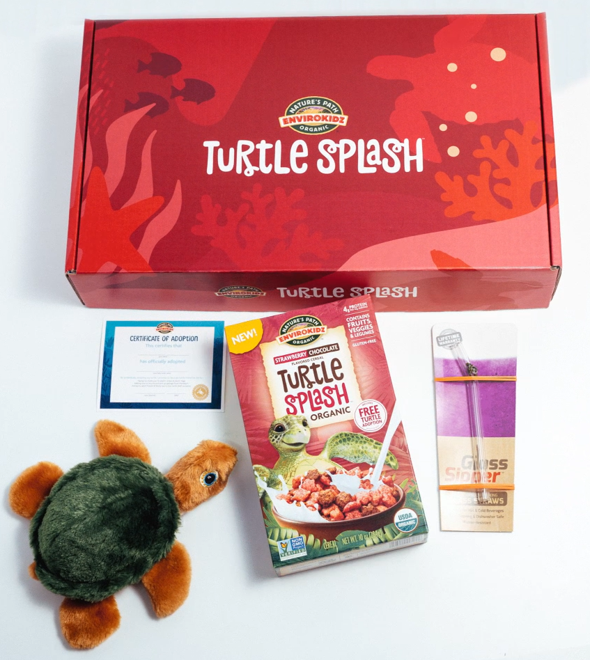 Turtle Splash Box with a cereal box, a turtle, and a certificate